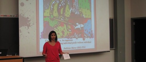 "Nandita Bhargava of the Anthropology and Sociology department, presenting on ""the impossibility of progress"" in auditorium at the 2011 Hightower Syposium"